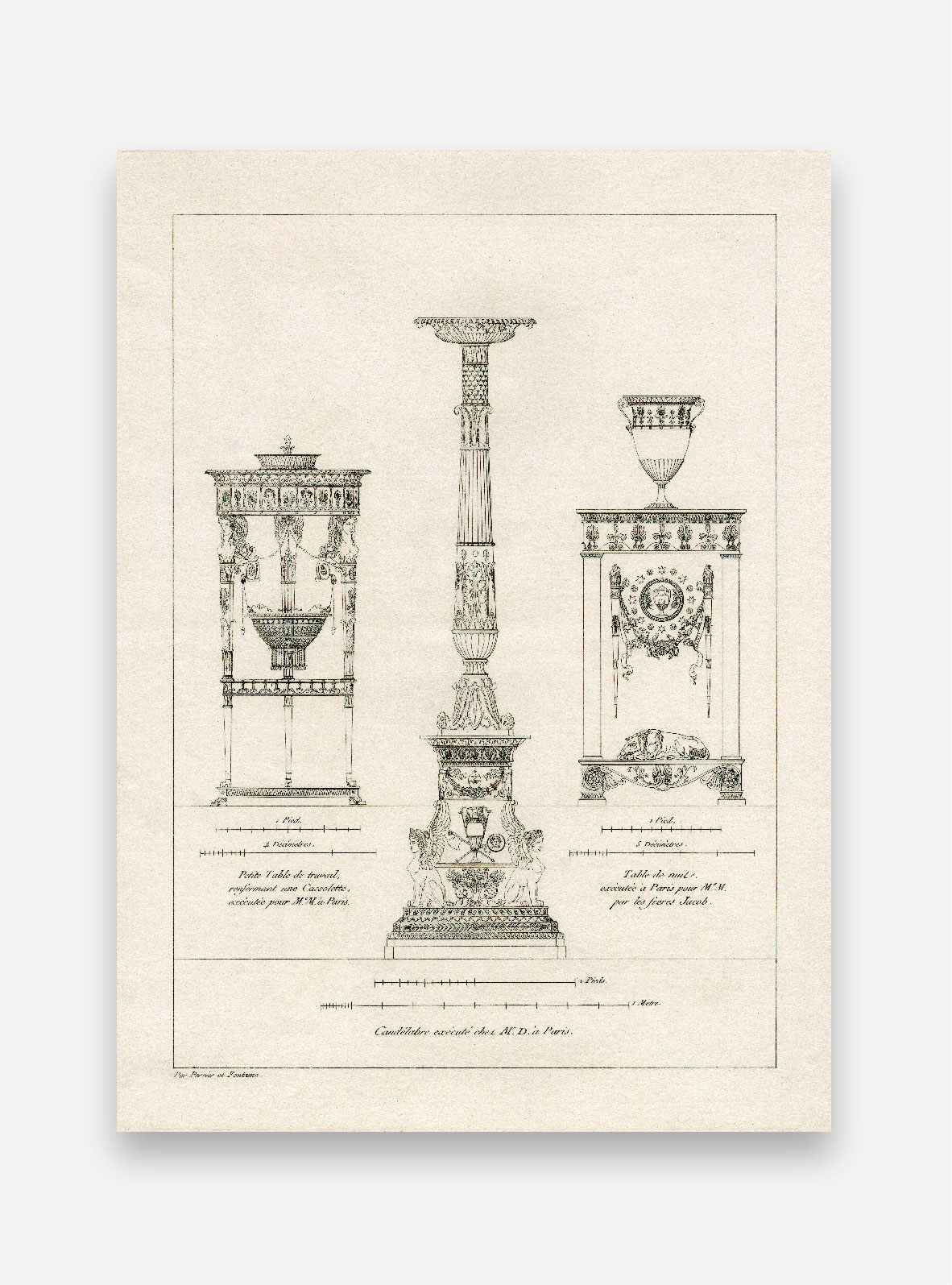 Candelabra and side tables
